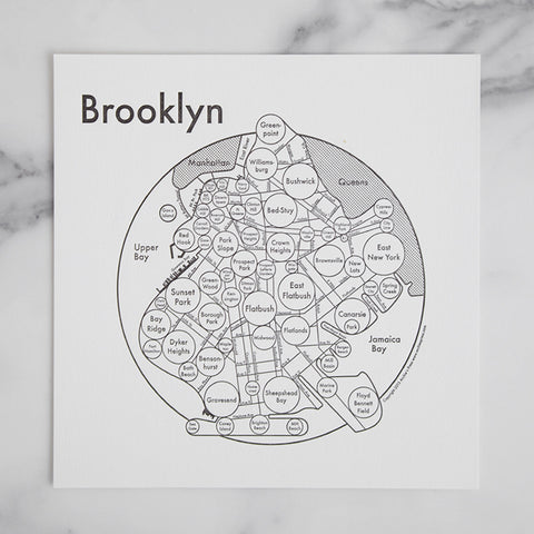 brooklyn city map mindmap - shown laying on marble slab; made in usa by archie's press | carpenter hill