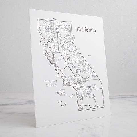 California Letterpress Print