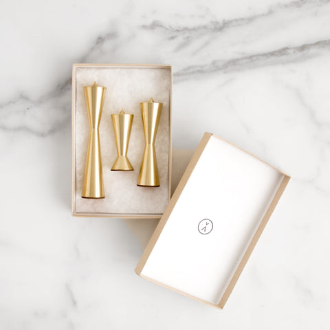 American-made Modern Brass Candlestix by AVANDI - Carpenter Hill
