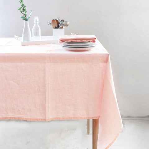 linen tablecloth (boho blush - light pink) - shown on table; made in usa by celina mancurti | carpenter hill