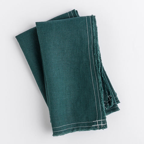 linen napkins - bohemian green - shown folded; made in usa by celina mancurti | carpenter hill