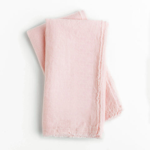 linen napkins - blush color - shown folded and on white background; made in usa by celina mancurti | carpenter hill