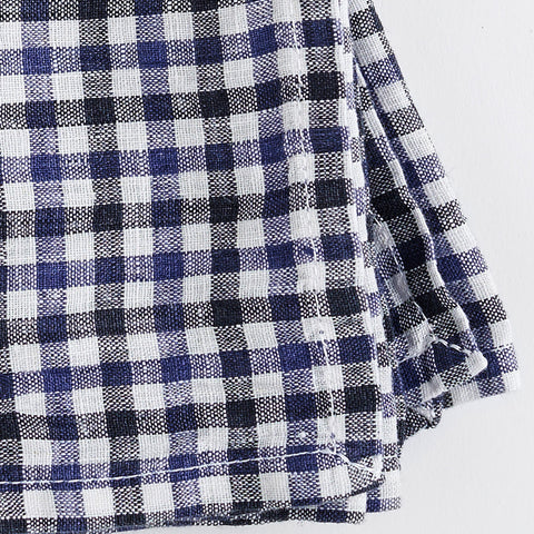 gingham napkins - blue and white - closeup on white background; made in usa by celina mancurti | carpenter hill