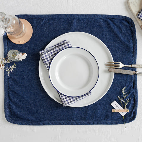 denim placemats with leather corner strips - overhead view shown with place setting; handmade in usa by celina mancurti | carpenter hill