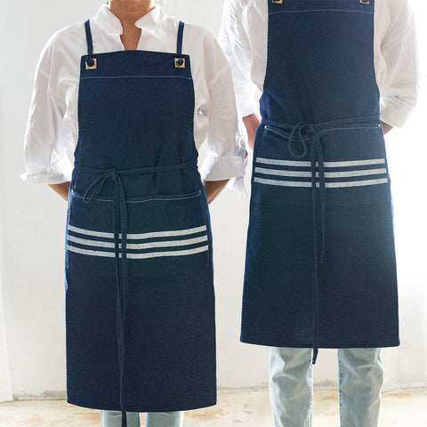 denim bib apron with adjustable straps - front view shown on both male and female; made in usa by celina macurti | carpenter hill