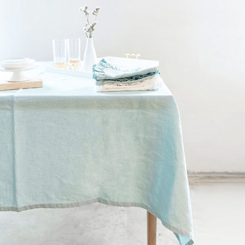 linen tablecloth (boho mint) - shown on table; made in usa by celina mancurti | carpenter hill