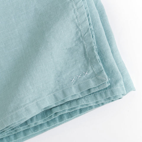 linen tablecloth (boho mint) - closeup shown folded; made in usa by celina mancurti | carpenter hill