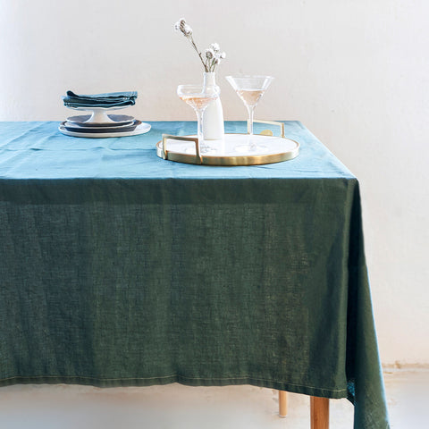 linen tablecloth (boho green) shown on table; made in usa by celina mancurti | carpenter hill