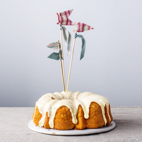 Dessert Topper Flags on pound cake