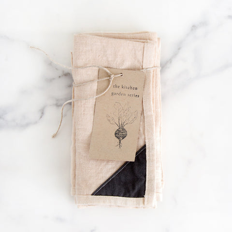 tea dyed linen dinner napkins set