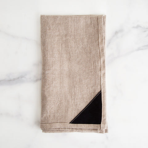 Large natural linen tea towel with edging