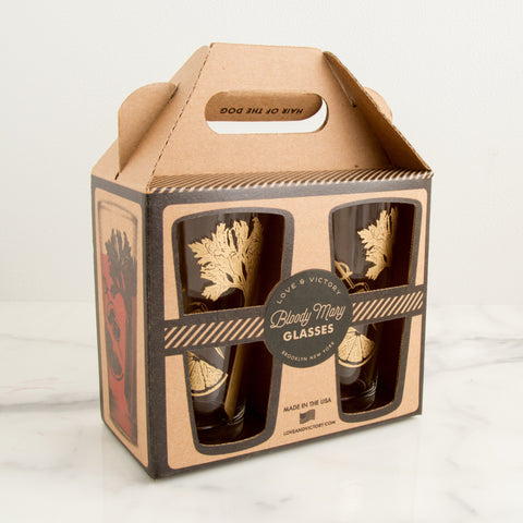 Bloody Mary Glasses in box - sideview; made in usa by Love & Victory - Carpenter Hill