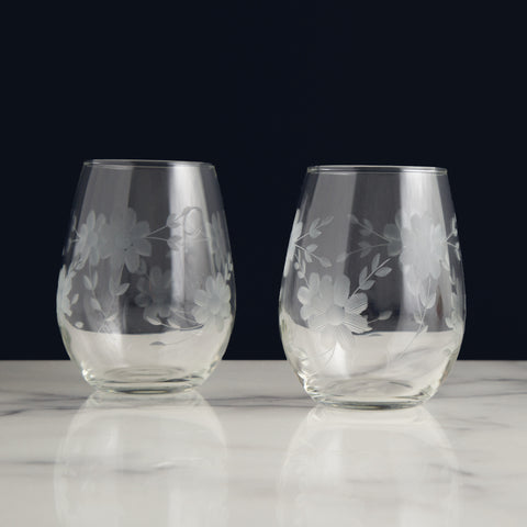 American-made Floral Stemless Glasses by Love & Victory - Carpenter Hill