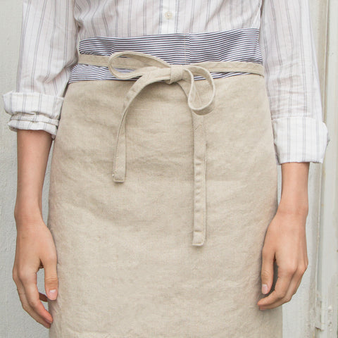 Linen bistro apron with reclaimed shirting waistband