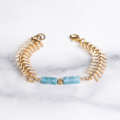 fishtail bracelet made with solid brass and natural stones; made in usa