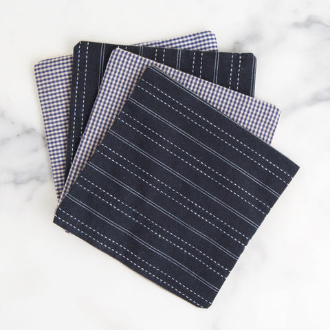 set of reclaimed men's shirting coasters