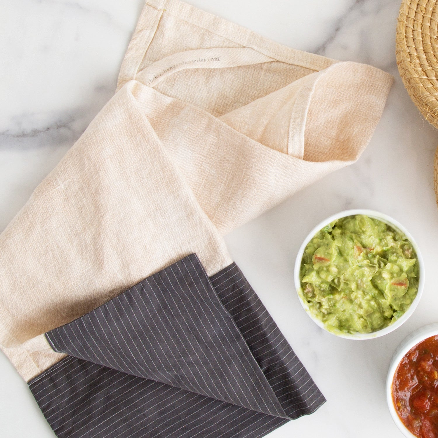 shirtsleeve tea towel with linen sleeve detail
