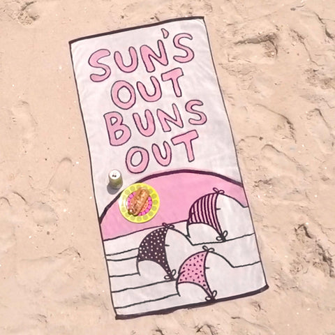 Sun's Out Buns Out Beach Towel on the beach
