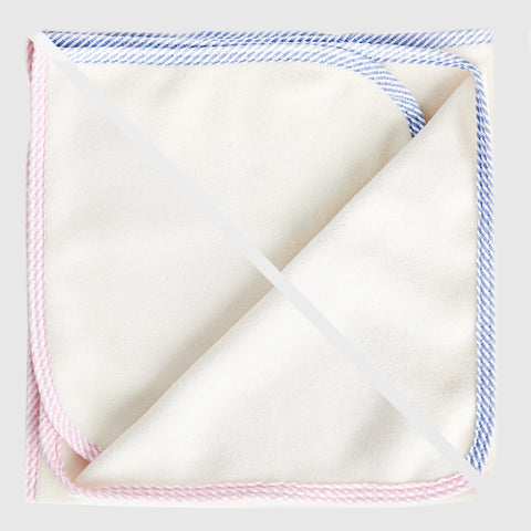 Pet Blanket with Pink or Blue Seersucker Trim
