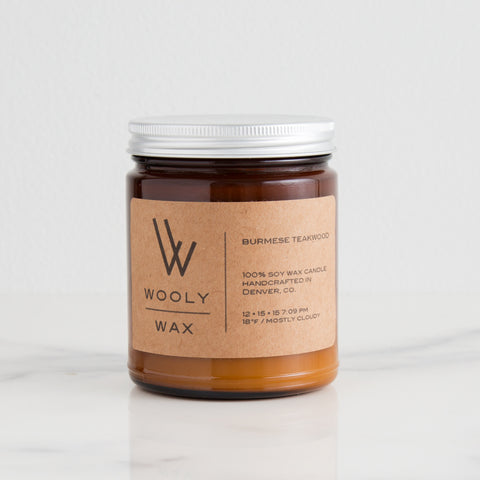 American-made Burmese Teakwood Candle by Wooly Wax Candles - Carpenter Hill