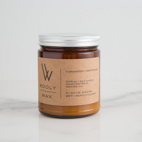 American-made Coriander Driftwood Candle by Wooly Wax Candles - Carpenter Hill