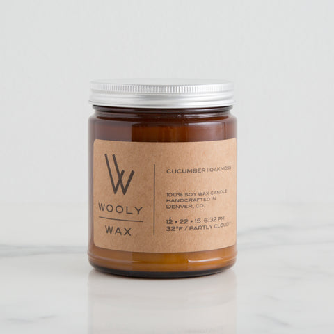 American-made Cucumber | Oakmoss Candle by Wooly Wax Candles - Carpenter Hill