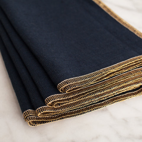 Navy + Gold Dinner Napkins