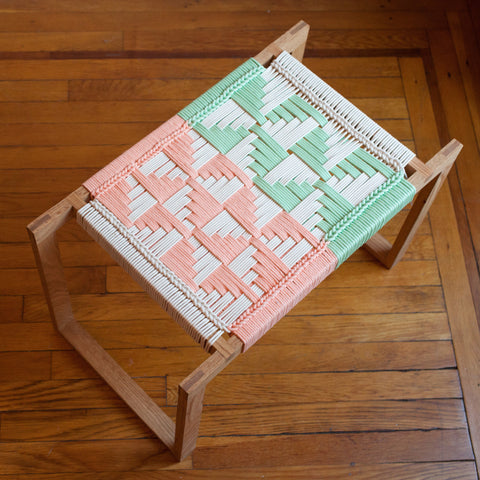 Coral + Mint Stool