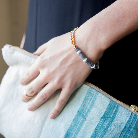American-made Navy + White Bracelet by Pink Midnight - Carpenter Hill