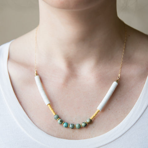 American-made Beaded Turquoise Necklace by Pink Midnight - Carpenter Hill