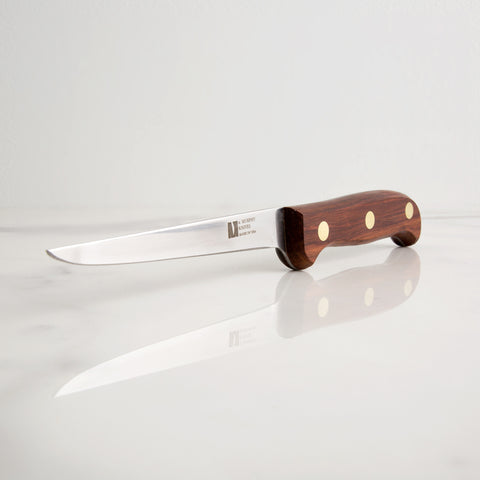 5 inch fillet knife with rosewood handle on marble - side view; made in USA by r. murphy