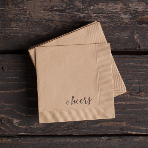 American-made Cheers Cocktail Napkins by With Love + Ink - Carpenter Hill