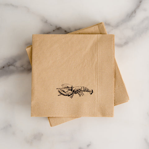 American-made Lobster Cocktail Napkins by With Love + Ink - Carpenter Hill