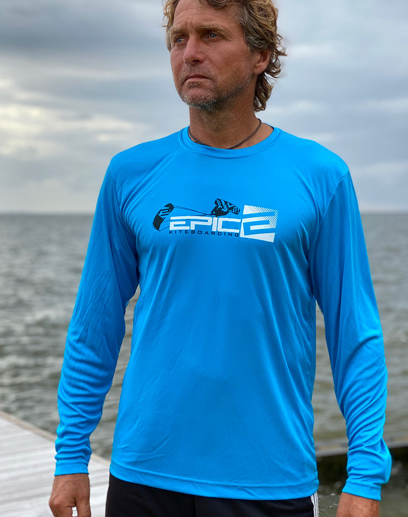Blue Sport Performance Long Sleeve T-Shirt