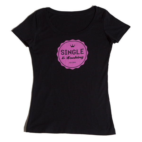 Women's Bottle Cap Scoop Tee - Black & Pink