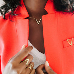 V Drop Necklace: Brass