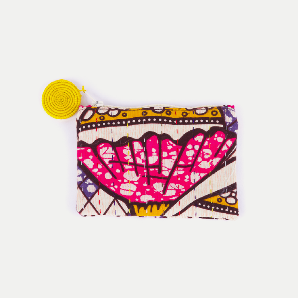 Kitenge Pouch: Yellow Balloons (Small)
