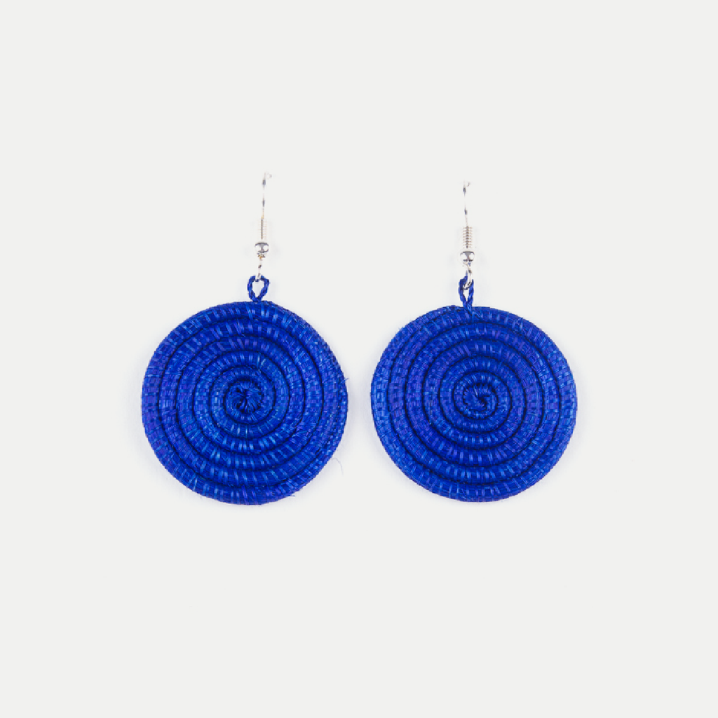 Woven Spiral Earrings: Blue (Small)