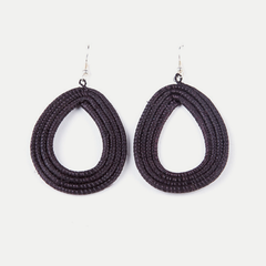 Woven Teardrop Earrings: Black
