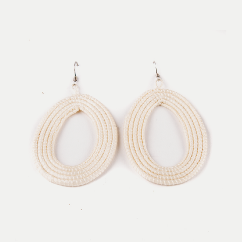 Woven Teardrop Earrings: Natural