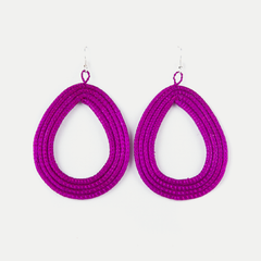 Woven Teardrop Earrings: Raspberry