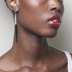 Capped Quill Earrings: Black