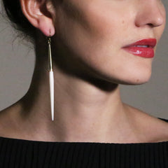 Capped Quill Earrings: White