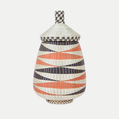 Teardrop Woven Basket: Black & Rust