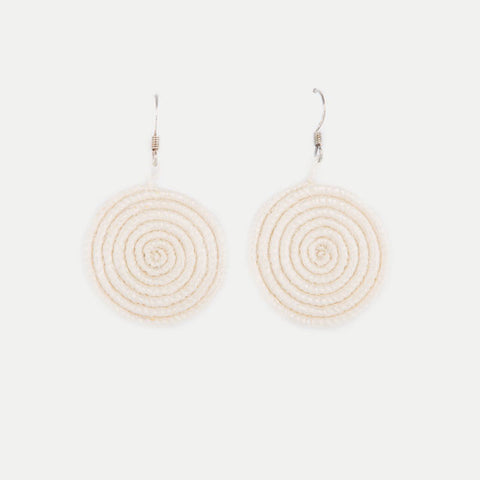 Woven Spiral Earrings: Natural (Small)