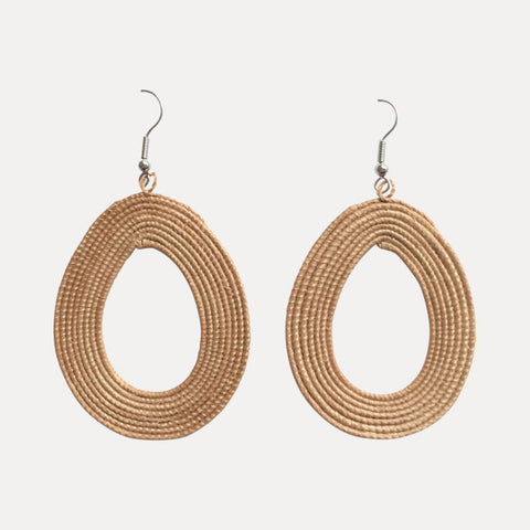 Woven Teardrop Earrings: Tea