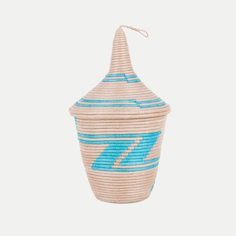 Sisal Peace Basket: Teal