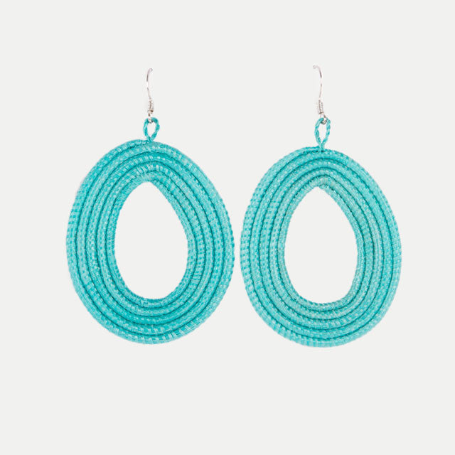 Woven Teardrop Earrings: Teal
