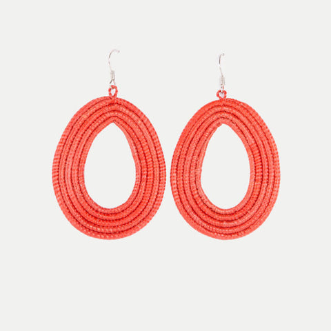 Woven Teardrop Earrings: Adobe