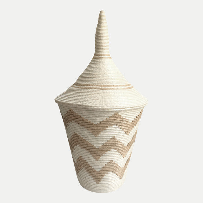 Sisal Peace Basket: Large Chevron Tea